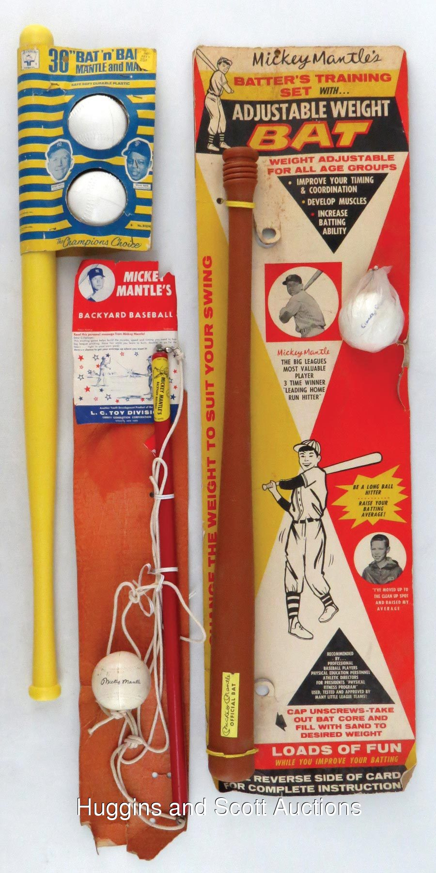 3 1960s mickey mantle retail bat ball products unused