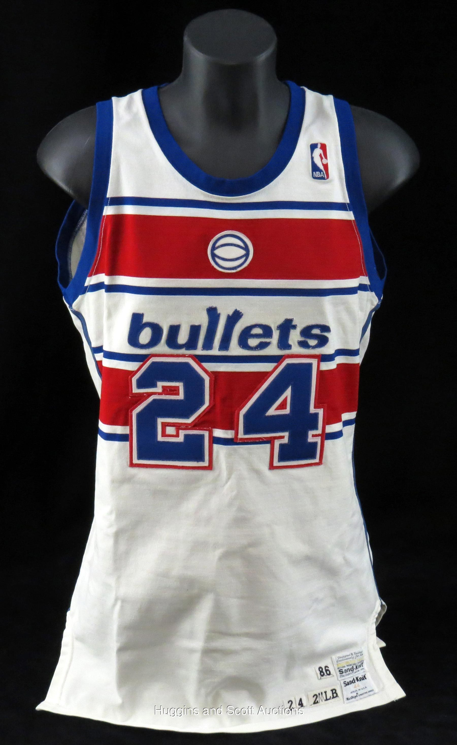 Jeff Malone 1986 87 Washington Bullets Game Worn Home Ensemble